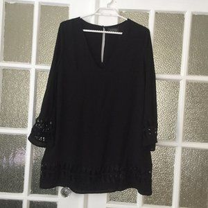 Black bell sleeve dress with embroidery